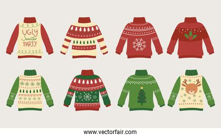 christmas ugly sweaters party differents design