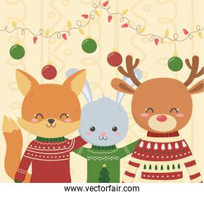 cute fox rabbit and deer christmas ugly sweater party
