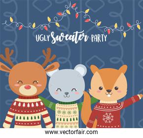 cute bear deer and squirrel christmas ugly sweater party