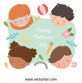 happy childrens day smiling kids faces with pencil flowers ball rainbow