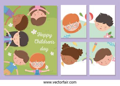 happy childrens day, banners smiling boys and girls faces