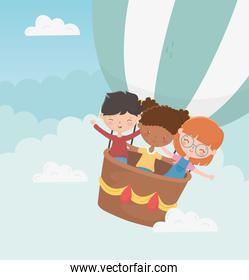 happy childrens day smiling boy and girls flying hot air balloon