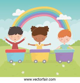happy childrens day smiling girl and boy with wagons toy rainbow park
