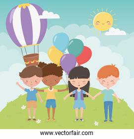 happy childrens day, kids holding hands balloons hot air balloon park