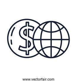 Isolated global sphere line vector design