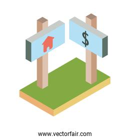 Real estate banner icon isometric vector design