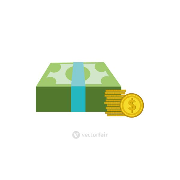 Isolated bills and coins icon flat vector design