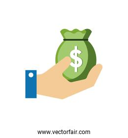 Isolated money bag icon flat vector design