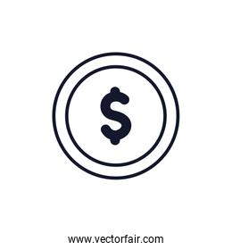 Isolated coin icon line vector design