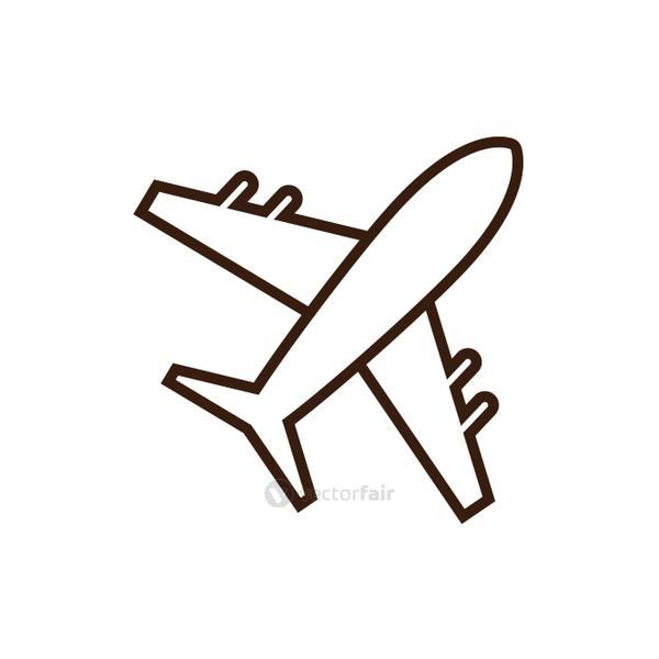 Isolated airplane line and fill vector design