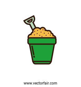 Isolated sand bucket icon line and fill vector design