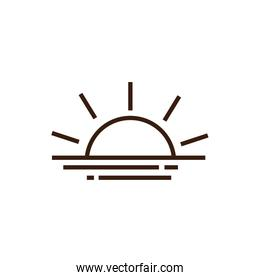 Isolated sun icon line and fill vector design