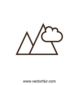 Isolated mountain icon line and fill vector design
