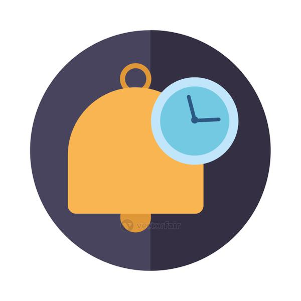 Bell and clock icon block vector design