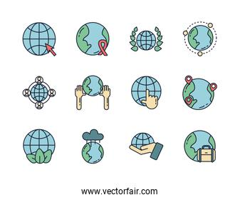 world map global icons set line filled