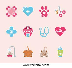 pet shop grooming vet care icons set