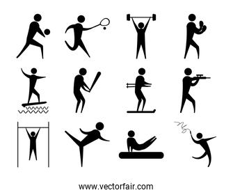 silhouette people sport different activity icons set