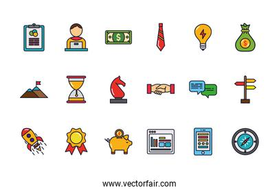 business startup success icons set