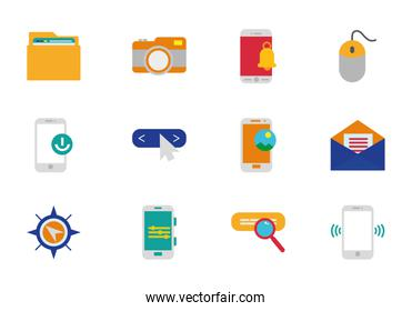 internet of things technology network icons set