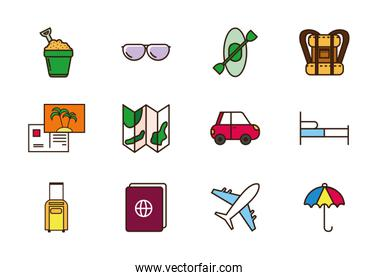 tourism vacations travel related icons set