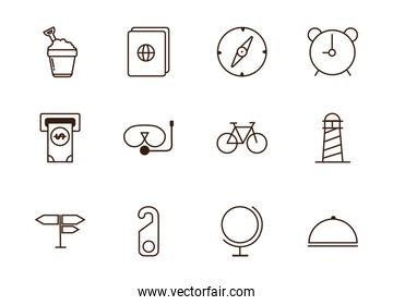 tourism vacations travel related icons set line style