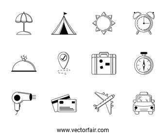 tourism vacations travel icon set thin line