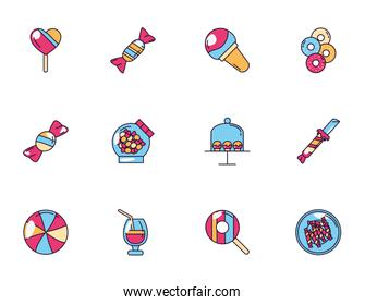 sweet dessert jar candy and pastry icons set
