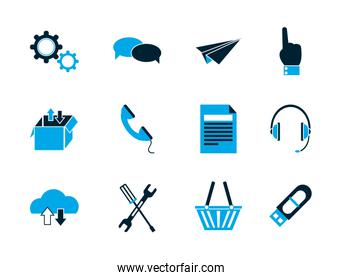 internet of things collection icons blue style