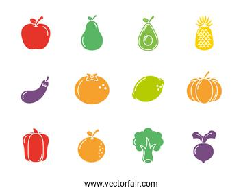fruits and vegetables fresh icons set flat design