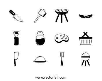 bbq food equipment utensils icons set