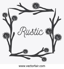 gray rustic roses icon