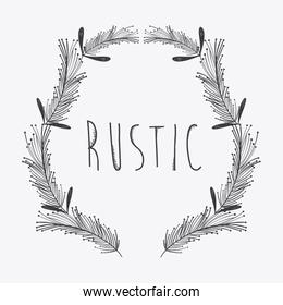 gray rustic emblem branches icon