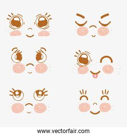 kawaii set funny faces icon