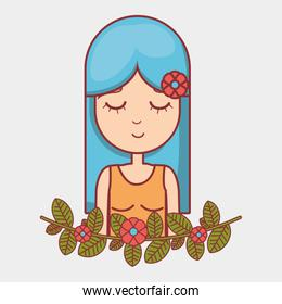 hippie woman relaxing with flowers