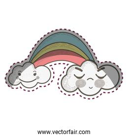kawaii rainbow with clouds with faces expression