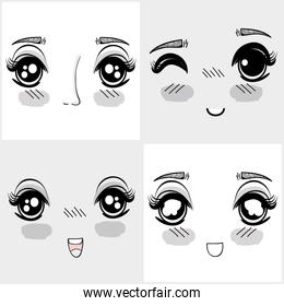 anime nice woman faces expressions