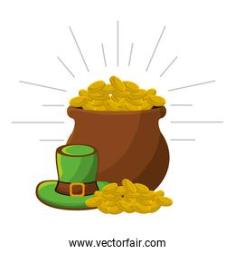 coins inside of flowerpot with green hat