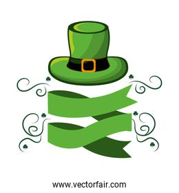 green hat st patrick with ribbon and branches