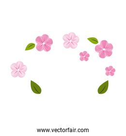 cute flowers with leaves decoration