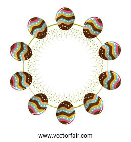 eggs easter togethers with a rope in form of circle