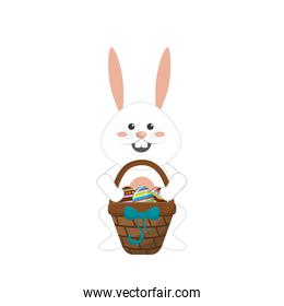 rabbit easter with eggs inside of hamper
