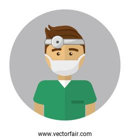 doctor with medical mask and reflector