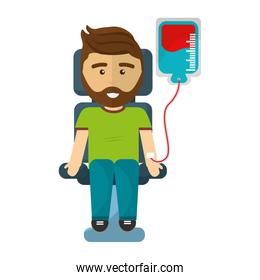 man donating blood isolated icon