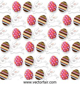 easter eggs with rabbit decoration background