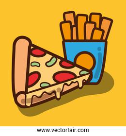 delicious pizza and fries french food