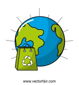 planet and bag to recycle environment icon