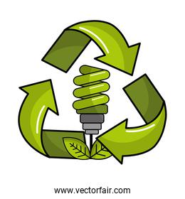 green save bulb with leaves inside of recycling symbol