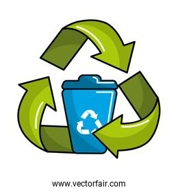 can trash inside of recycling symbol