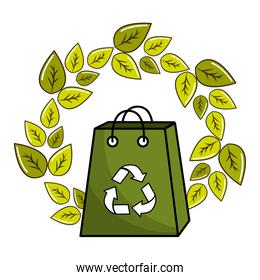 leaves and bag with recycling symbol inside