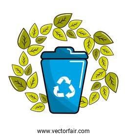 leaves and can trash with recycling symbol inside